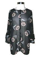 CABI 5206 Size XL Blouse Shirt Top Black Pink Floral Sheer Ruffle Long Sleeve