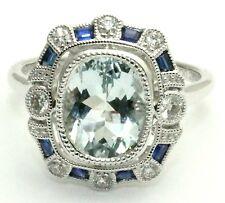 18ct. White Gold Art Deco Style Aquamarine, Sapphire and Diamond Cluster Ring