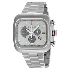 Gucci Coupe Quartz XL Chronograph Silver Dial Stainless Steel Mens Watch