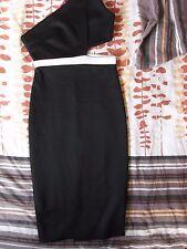 NEW WOMEN'S BLACK MONOCHROME Boohoo DRESS PAIGE ONE SHOULDER BODYCON SIZE UK 8