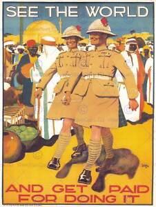 POLITICAL PROPAGANDA MILITARY ENLIST BRITISH ARMY COLONIAL UK POSTER ART 1881PY