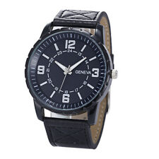 Deluxe Business Geneva Men's Watch Leather Band Quartz Wrist Watches Black