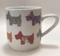 Scotty Dog White Coffee Mug Cup Scottie Floral Creative Tops Colorful Polka Dots