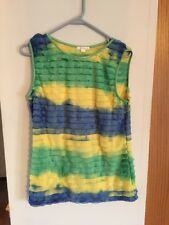 Ladies Multi Colored Sleeveless Shirt Size Large With Ruffles