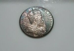 1910 Canada 5 cent ANACS AU58 holly silver half dime rainbow toned older holder