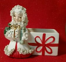 Vtg Christmas Planter * Napco Shopper Girl * Spaghetti Trim * S 715 B