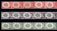 1953 CORONATION QUEEN ELIZABETH II FIVE FULL SETS PRE-DECIMAL STAMPS FRESH MUH