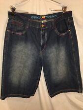 Jinzu Jeans Shorts Blue Denim Cool Design Size 36 Inseam 14