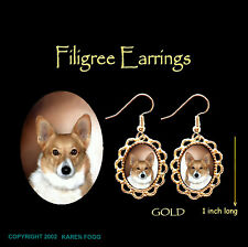 Corgi Dog Fawn - Gold Filigree Earrings Jewelry