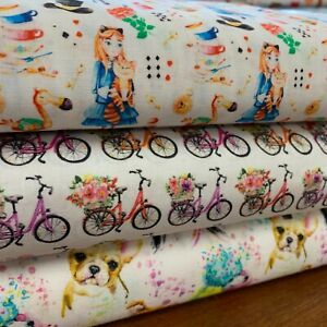 """100% Cotton Girl Designs - Face Mask, Craft, Patchwork- 60"""" Wide- Sold Per Metre"""
