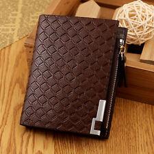 Men Fashion Wallet Billfold Leather Zipper Cash Short Purse Card Holder US FAST