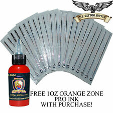 50 Mixed Sterile Tattoo Needles - RL RS RM and M1 w FREE 1oz Orange Zone Pro Ink
