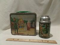 "RARE VINTAGE 1956 ""ROBIN HOOD"" METAL LUNCH BOX WITH THERMOS BY ALADDIN"