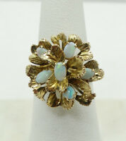 Charming 14K Yellow Gold Floral Opal Cluster Ring Sz 8 A2527
