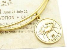 Wind and Fire Zodiac Cancer Gold Charm Wire Bangle Stackable Bangle Bracelet USA
