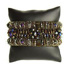 BR180-423 Bronze Hematite Magnetic Clasp Bugle Bead Czech Crystal Bracelet Cuff