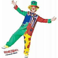 Deluxe Patchwork Clown Adult Halloween Costume Funny Colorful Circus & Wig SZ XL