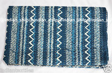 Queen Kantha Indian Bedding New Blanket Bedspread Ethnic Quilt Throw Block Print