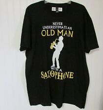 """Men's Black T-Shirt Size 2XL Graphic Tee """"Old Man With Saxophone"""" Musical Gift"""