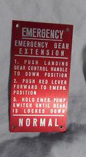 Korean War USAF Lockheed T-33 Pilot's Red Warning Data Plate, Original, NOS
