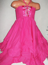 GIRLS CERISE PINK SATIN DIAMONTE PRINT BOHO RAG HEM RUFFLE PARTY DRESS age 3-4