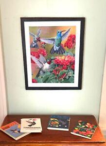 "Dollhouse Miniature ""The Hummingbird Collection"" - 4 Books and Hummingbird Print"