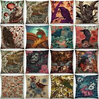 Home Pillow Decor Case Waist Owl Cushion Cover Cover Animal Cotton Linen