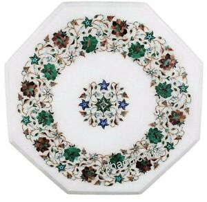 16 Inches Marble Inlay Hall Table Top with Multi Gemstones Work Coffee Table top