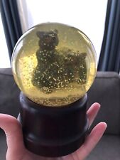 "2 Black Bear Cubs Musical Water Snow Globe Plays ""Born Free"" Brown Grisly Music"