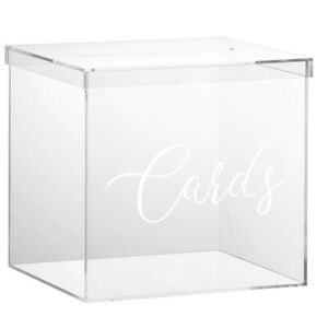 "OnDisplay 10"" Luxe Acrylic Clear Wedding Card Box w/Lid - Lucite Gift/Money Box"