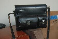 Vintage Nikon Hard Shell Leather Camera Bag Carry Case 3 Lens Plate