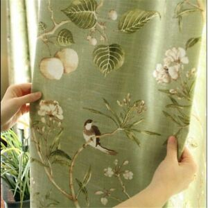 Floral Bird Printed Curtains Tulle For Bedroom Window Blinds Screening Treatment