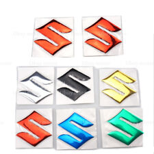 """S"" Logo 3D Motorcycle Emblem Sticker Decals Fuel Gas Tank Pad For Suzuki Red"