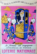 Lucien BOUCHER affiche LOTERIE NATIONALE 1959 Beaux voyages fortune LOUIS XVI