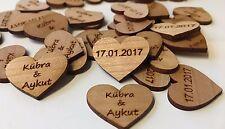 50 Streudeko Holz Herz Tischdeko Braut Bräutigam Name + Datum Hochzeit Deko 2 cm