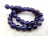 10 mm Genuine Round LARGE HOLE Purple Amethyst Beads - Grade AA + - 2 mm Hole