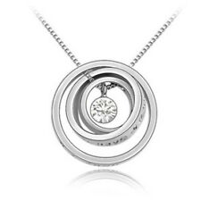"""""""Wish You'll Have a Good Luck"""" Engraved Trinity Ring Pendant Necklace(clear)"""