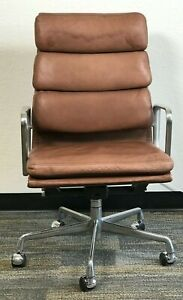 HERMAN MILLER EAMES ALUMINUM GROUP EXECUTIVE CHAIRS BROWN LEATHER