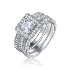 Jewelry 3Pcs Size 8 Womens AAA 18K Gold Filled White Topaz Wedding Ring Sets