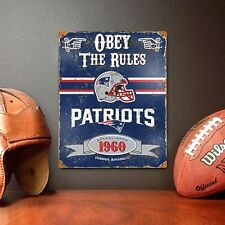 New England Patriots Obey Rules Embossed Metal Sign Vintage Style 11.5 x 14.5