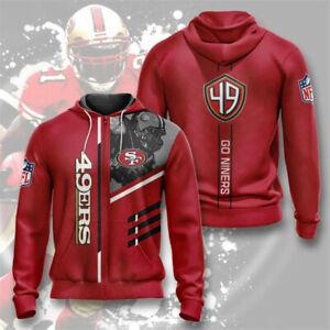 San Francisco 49ers Hoodie Football Zipper Sweatshirt Casual Sport Hooded Jacket