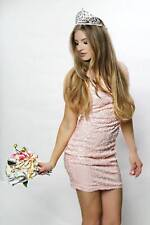 Midnight Glam Baby Pink Sequined Cocktail Mini Dress One Sleeve New Years 2856