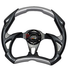 320mm Battle Type Steering Wheel Carbon Fiber Silver PVC & MUGEN Emblem
