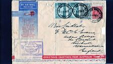 1931 First Flight Australia To England Flight Cover, 4 Stamps, Bad Condition