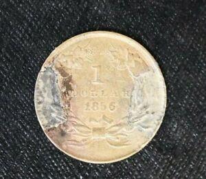 1856 $1 Gold, Indian Princess One Dollar Coin Love Token b41a