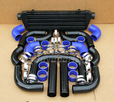 2.5' BLACK PIPING+ Intercooler KIT+ BLUE COUPLER CLAMP TURBOCHARGER SUPERCHARGER