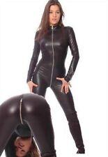 New. Metallic Black Lycra Zentai spandex Unisex catsuit Front Zip S-XXL