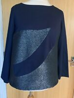 Cote Co/te Ladies Blouse Top 46 14 Navy Going Out Party Evening Christmas Xmas