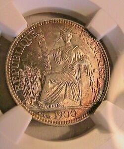1900 French Indochina FIC 10 Cent  NGC MS-62 Choice BU Rainbow Rim Tone 10C Coin