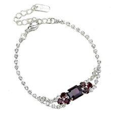 Amethyst purple diamante bracelet sparkly prom party bridesmaid adjustable 0329